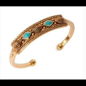 Lucky Brand Turquoise & Gold Tone Cuff